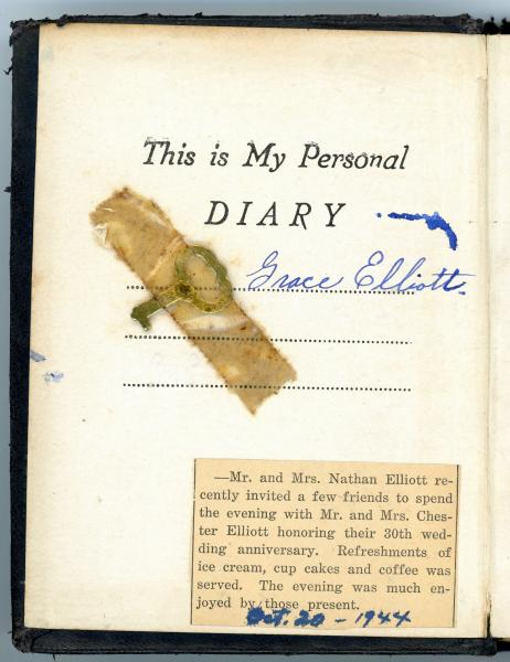 Inside cover of 5 year diary, 1944-1948