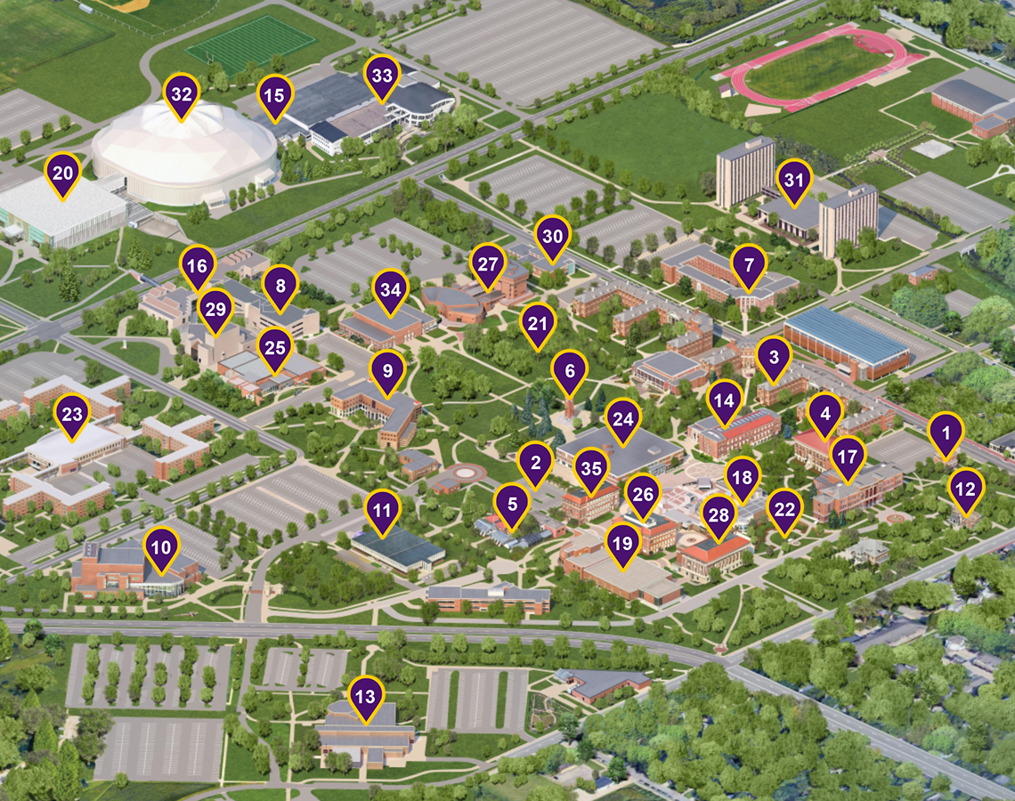 campus map with placemarkers