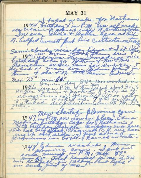 May 31 diary page, from the 1944-1948 five year diary.