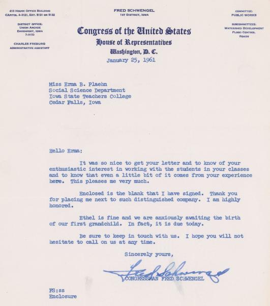 Fred Schwengel letter to Dr. Plaehn