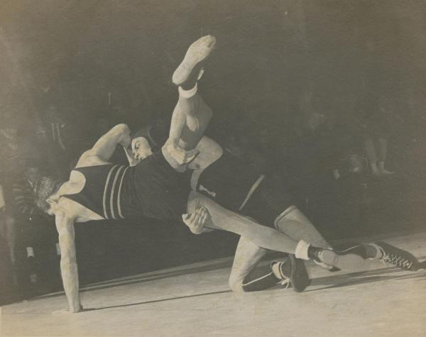 Wrestling match in the West Gym, 1979.