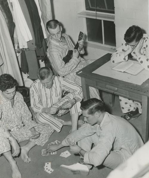 Raymond Shepard burns the midnight oil in Baker Hall, 1939.