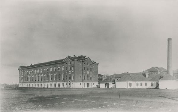 Gymnasium (Left) and Domestic Science Building, c. 1910.