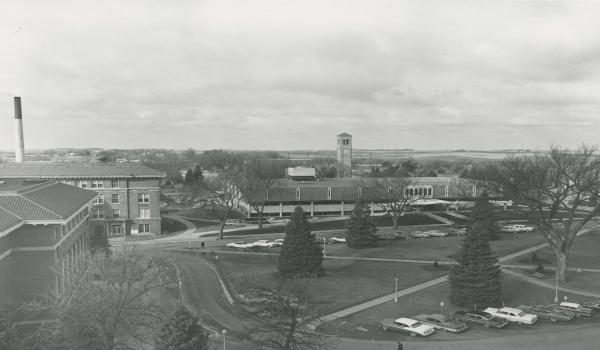 The Circle after completion of the Library, c. 1966.