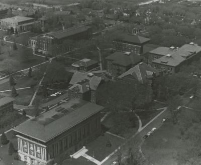 Aerial view, c. 1960; oak is left center.