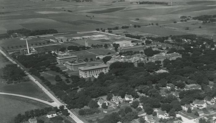 The elm-shaded campus, c. 1947.