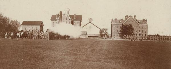 Cadet drill, 1892; the elm stands behind the original Gilchrist Hall.