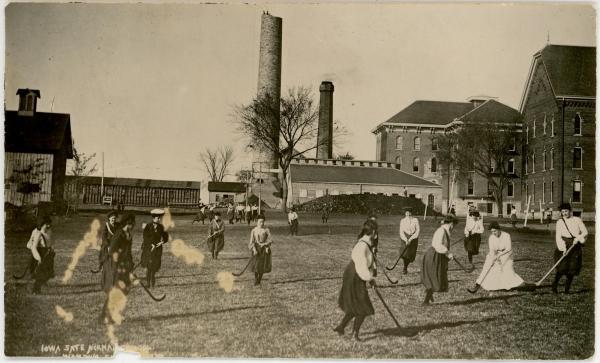 Women playing field hockey, 1892