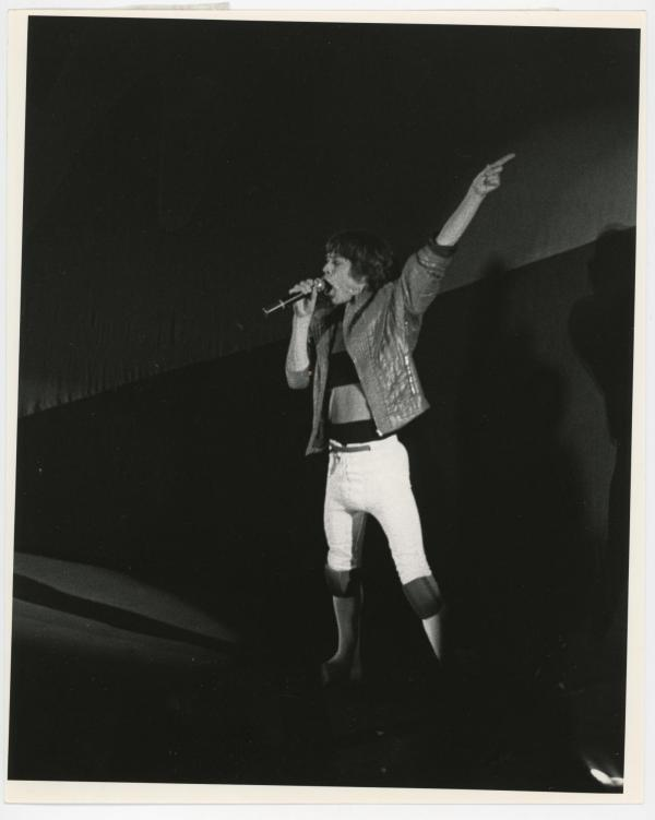 Mick Jagger performing at the UNI-Dome, 1982