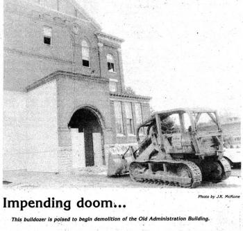 Administration building destruction