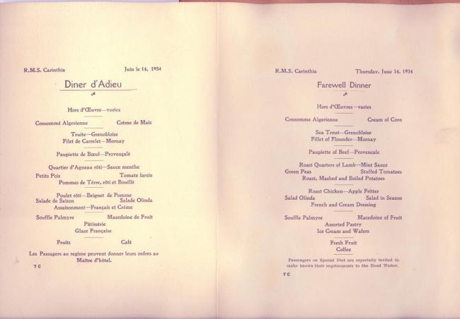 Carinthia menu