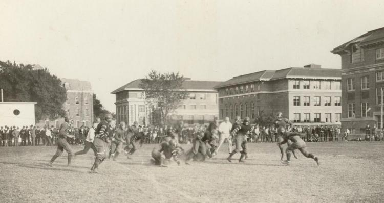 Football game action, about 1919