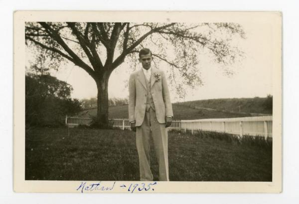 Nathan dressed up in 1935.