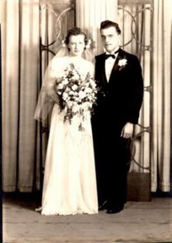 Mary Florence Coughlan and Richard Cobb Sucher, wedding day