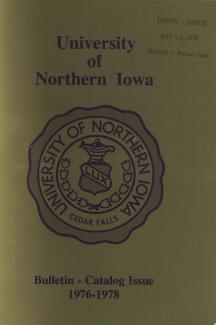 1976 bound UNI course catalog cover page