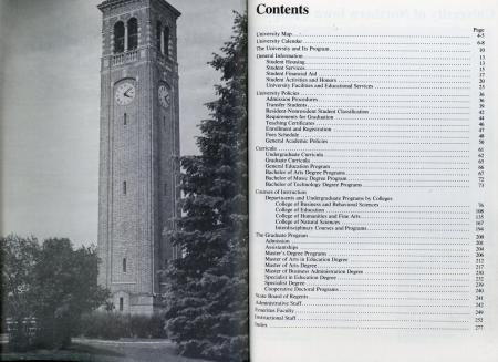 1976 bound UNI course catalog table of contents