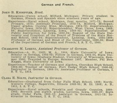 Listing of German and French department faculty from the 1917-1918 UNI course catalog