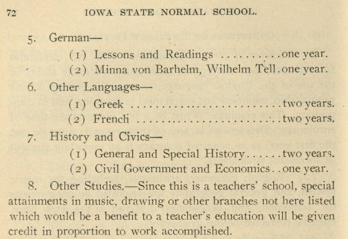 Courses of study, specifically foreign languages, listed in the 1905-06 Iowa State Normal School course catalog.