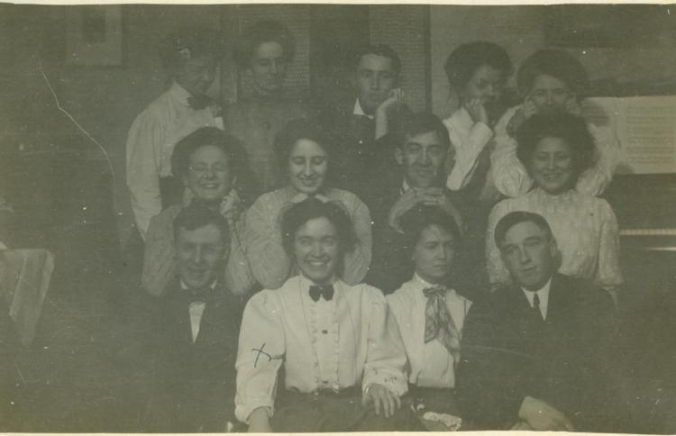 Friends, Sybil Lincoln, laughing, front row, second from left