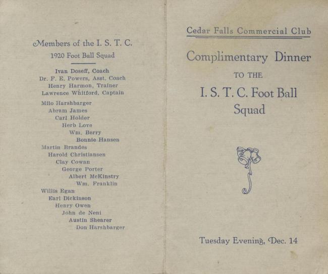 Dinner program, 1920