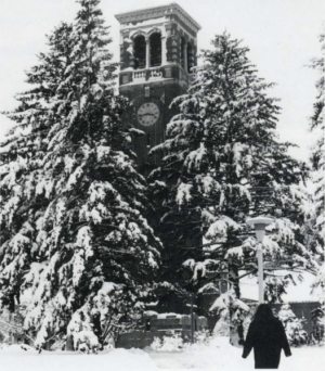 The campanile on a snowy day.