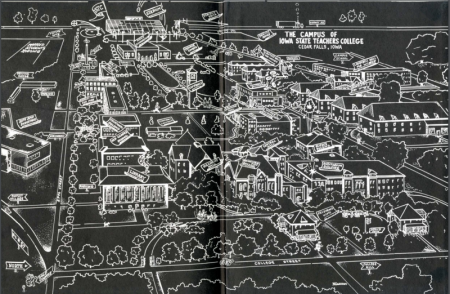 A drawn map of the University of Northern Iowa's campus.