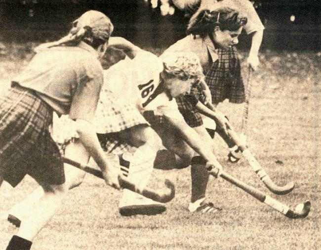 Field hockey action against Grinnell, October 1982.