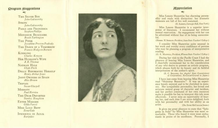 Program of recitations, about 1922.