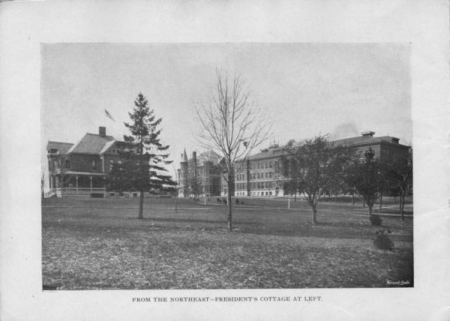 From the northeast--President's Cottage at left