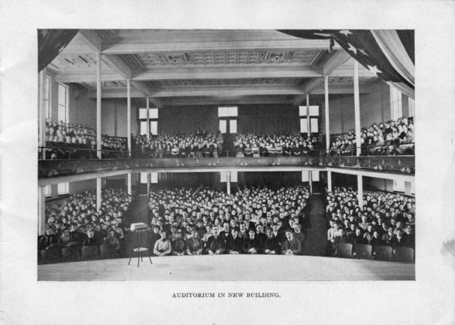 The auditorium in the new buidling