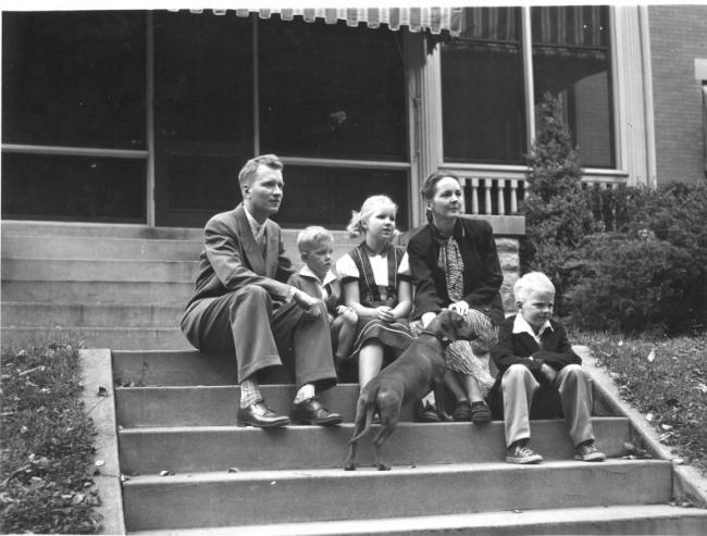 The Maucker family on the front porch of the President's House, 1950.