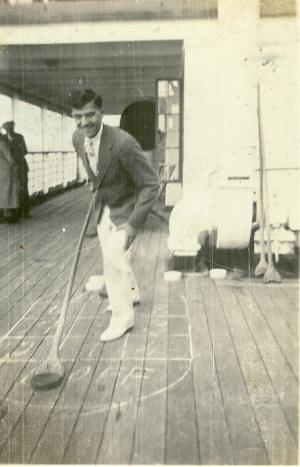 Richard Sucher tries shuffleboard