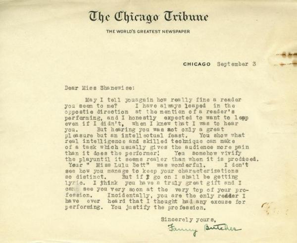Fanny Butcher letter
