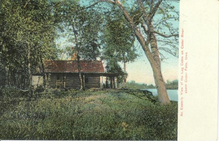 Log cabin on Cedar River above Cedar Falls, Iowa