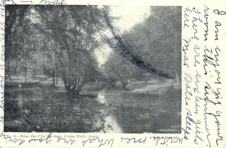 Near the city springs, Cedar Falls, Iowa, 1908.