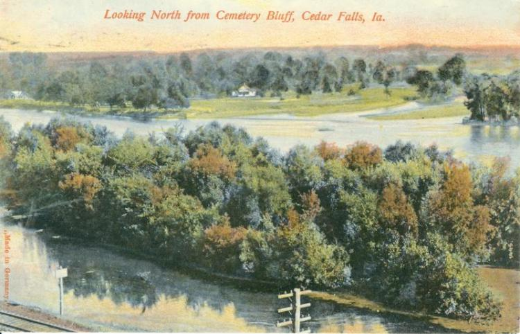 View looking north from Cemetery Bluff, Cedar Falls, Iowa, 1908.