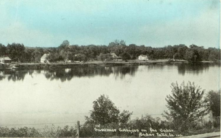 Summer cottages on the Cedar River, Cedar Falls, Iowa.