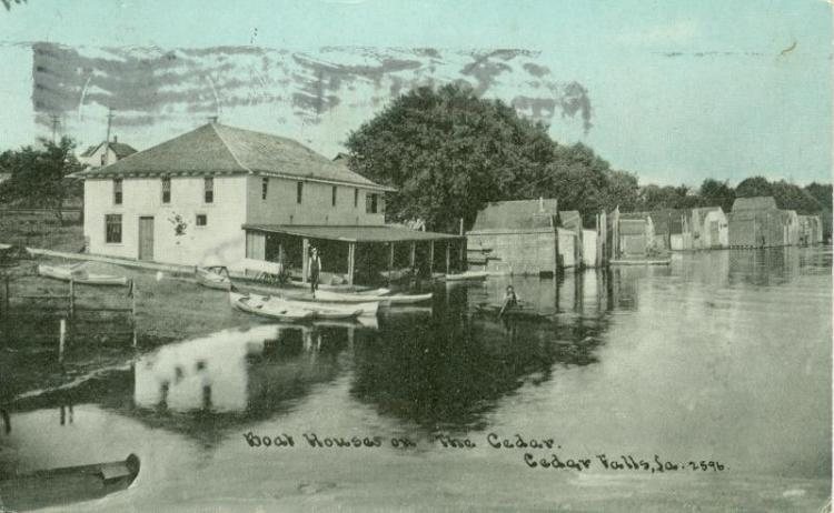Boar houses on the Cedar River, Cedar Falls, Iowa