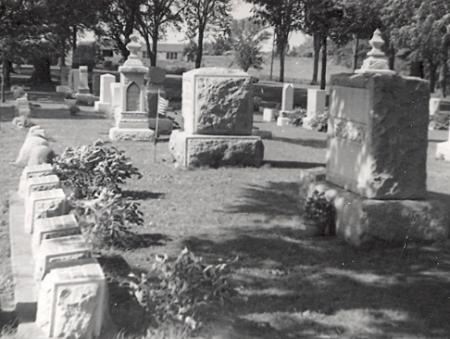Seerley family cemetery plot, Fairview Cemetery, Cedar Falls, Iowa; includes graves of Thomas, Louisa, and Homer Seerley as well as other members of the family.  Photo courtesy of Stan Culley.