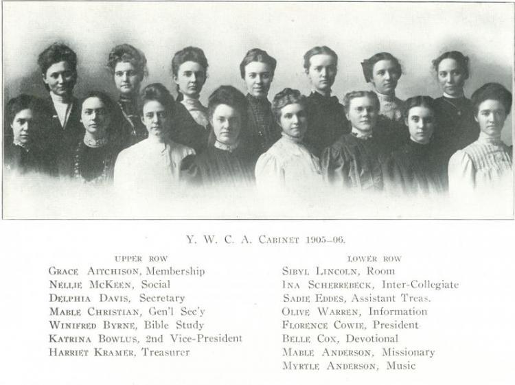YWCA cabinet, 1905-1906