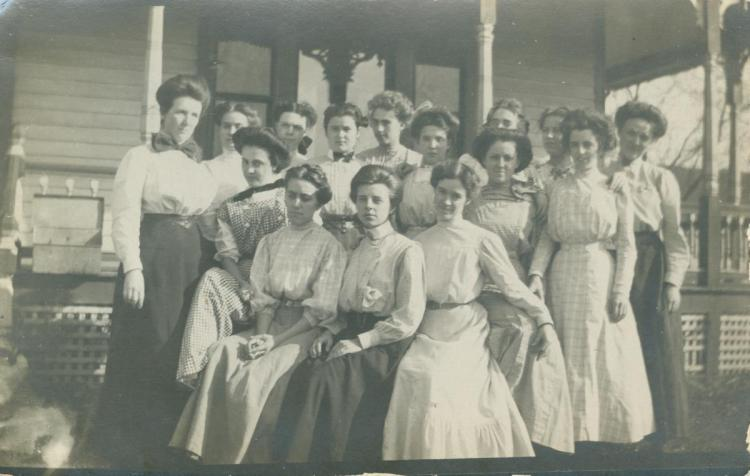 Bates Hall friends; Sybil Lincoln, far left, front row.