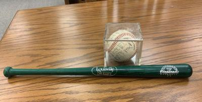 Waterloo Diamonds souvenir bat and signed baseball