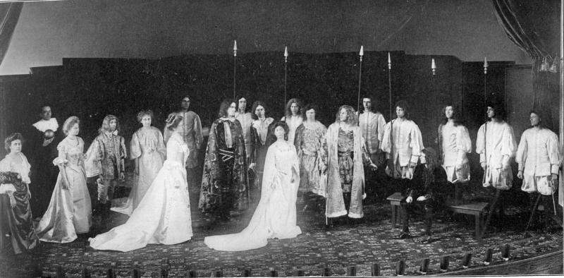 If I Were King, class play, 1908; Lenore Shanewise, front and center.