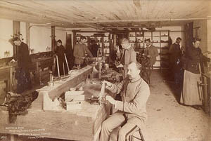 Apparatus manufacture physics class in 1891, Old Gilchrist Hall.