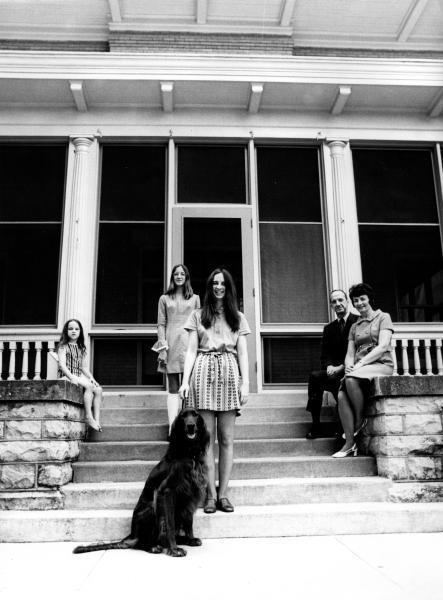 The Kamerick family with their Irish setter Seamus, 1970.