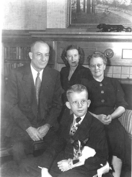 The Price family and Pal, 1950.