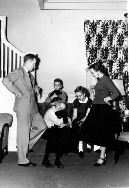 The Maucker family inside of the Presdient's House, 1957.
