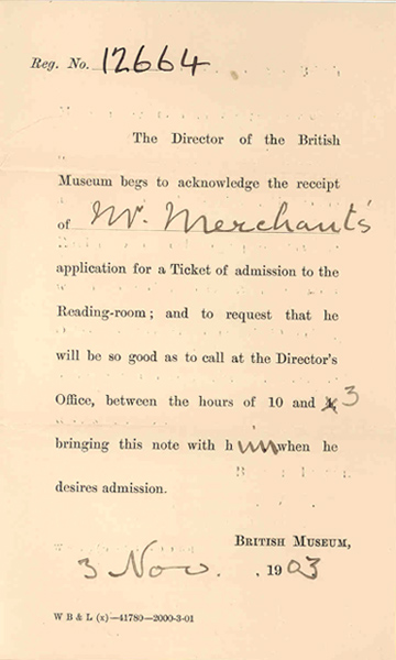 Frank Ivan Merchant's admission ticket to the reading room of the British Museum, 1903