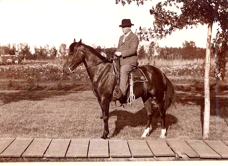 Frank Merchant astride his horse