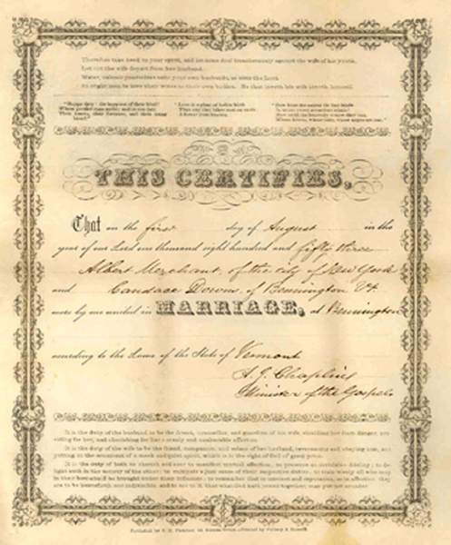 Marriage certificat of Albert Merchant and Candace Downs Merchant, 1851